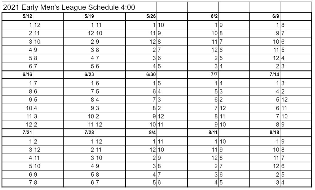 early league schedule