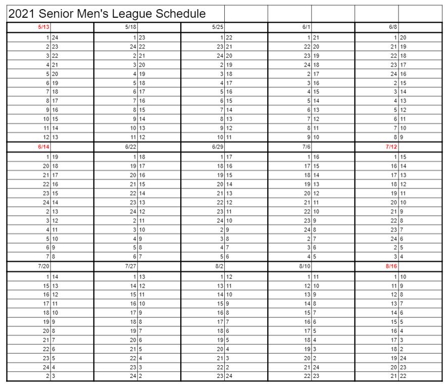 senior league schedule